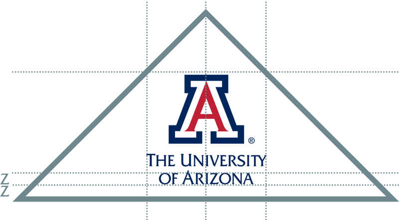 The vertical block A logo within the triangle container is tightly defined and is the only exception to the UA logo control space.