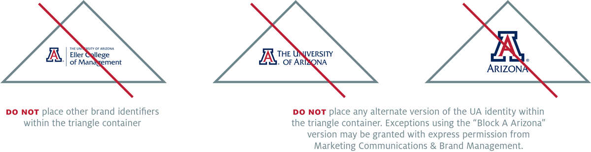 Triangle logo container Do Not: place any logos other than the vertical master brand inside the container